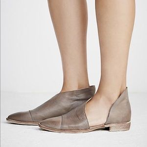 Free People Royale Flat Leather Gray Mules 37/7